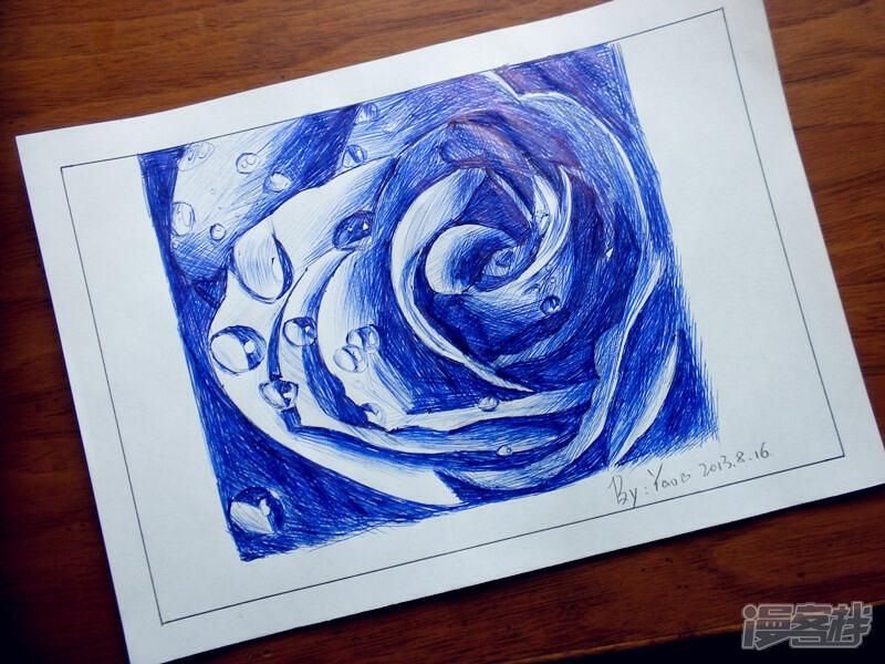 圆珠笔画——蓝色妖姬